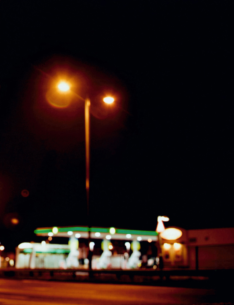 Lights above petrol station