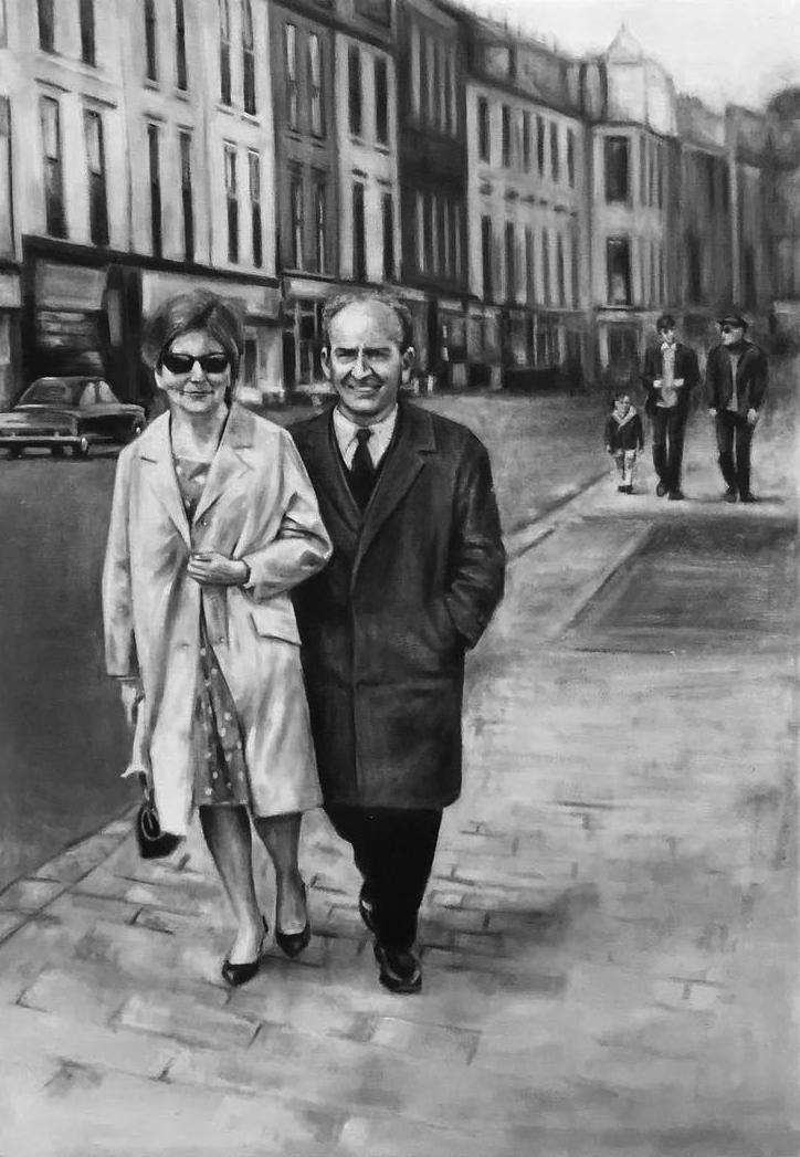 Couple walking in Dublin street